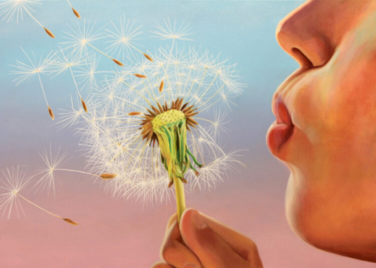 Oil painting with close-up of mouth blowing dandilion seeds