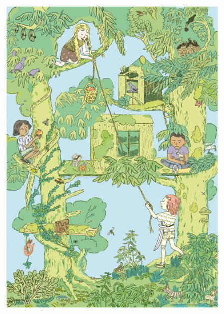 Tree with tree houses, animals and playing children. Lush greenery and blue background.