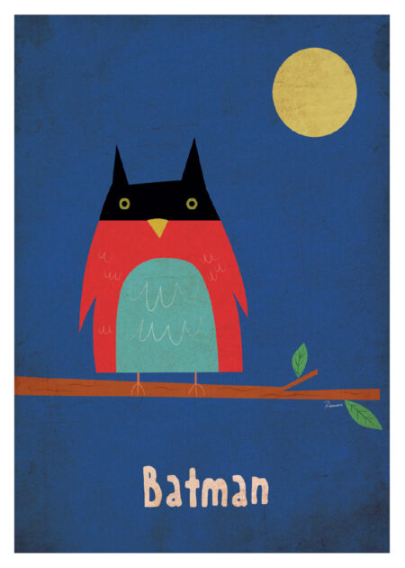 Illustration with owl in moon light and Batman mask