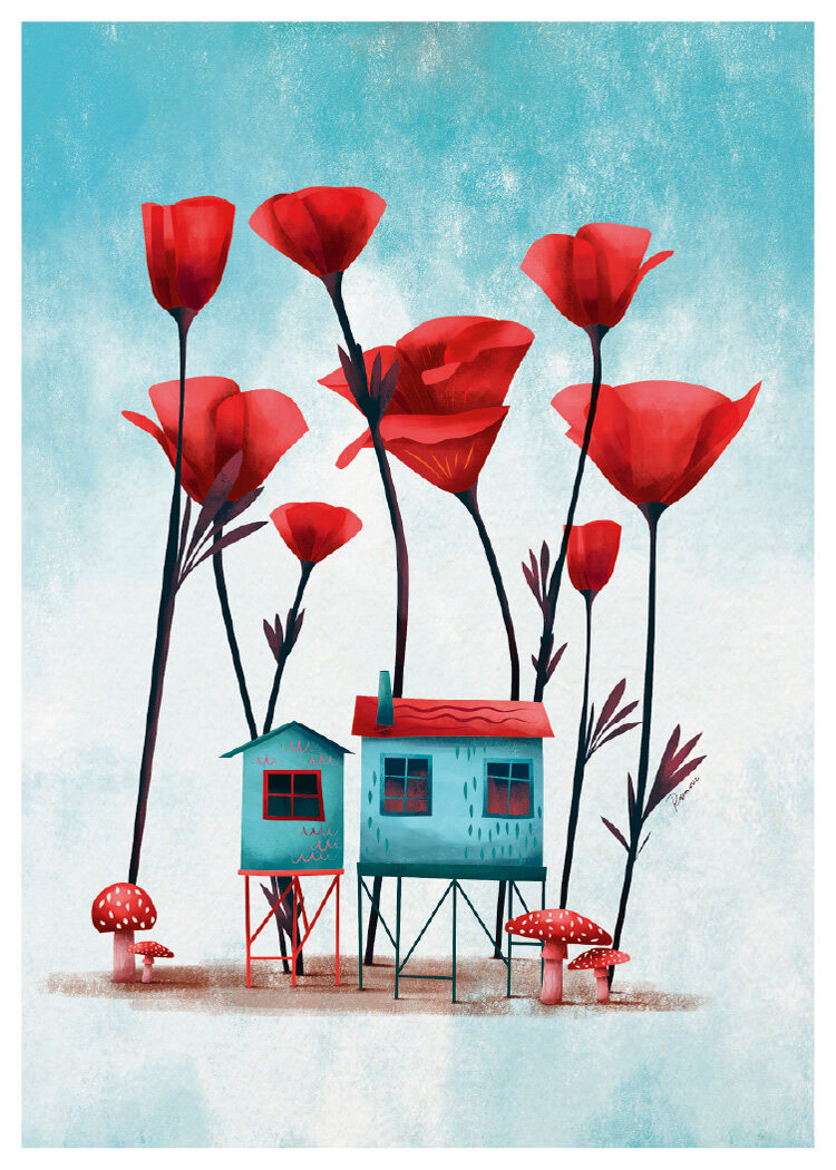 Turquoise houses on stilts with red poppy flowers and red mushrooms