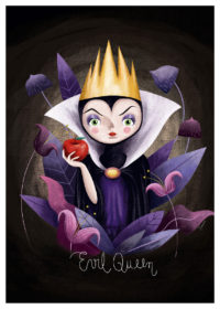 The Evil Queen from Snow White in purple dress holding a red apple and wears a yellow crown