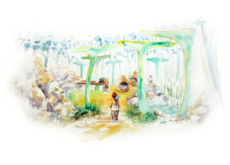Colourful water colour painting with children playing in a forest of gigantic mushrooms