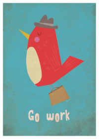 Illustrated red and beige bird with hat and briefcase, flying to work on turquoise background