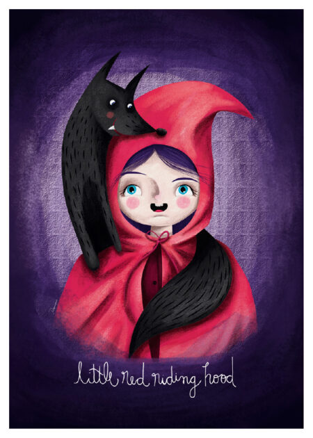 Little Red Riding Hood and the Wolf on illustrated poster with purple background