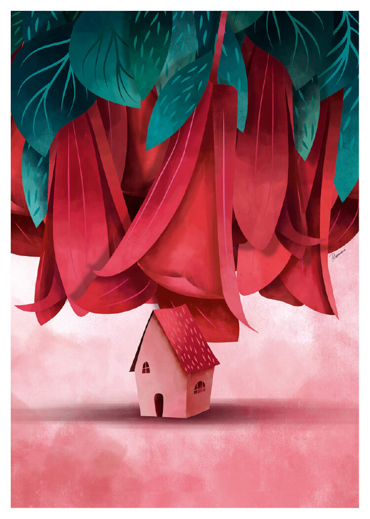 Illustration of small pink house under pinkish red large lilies