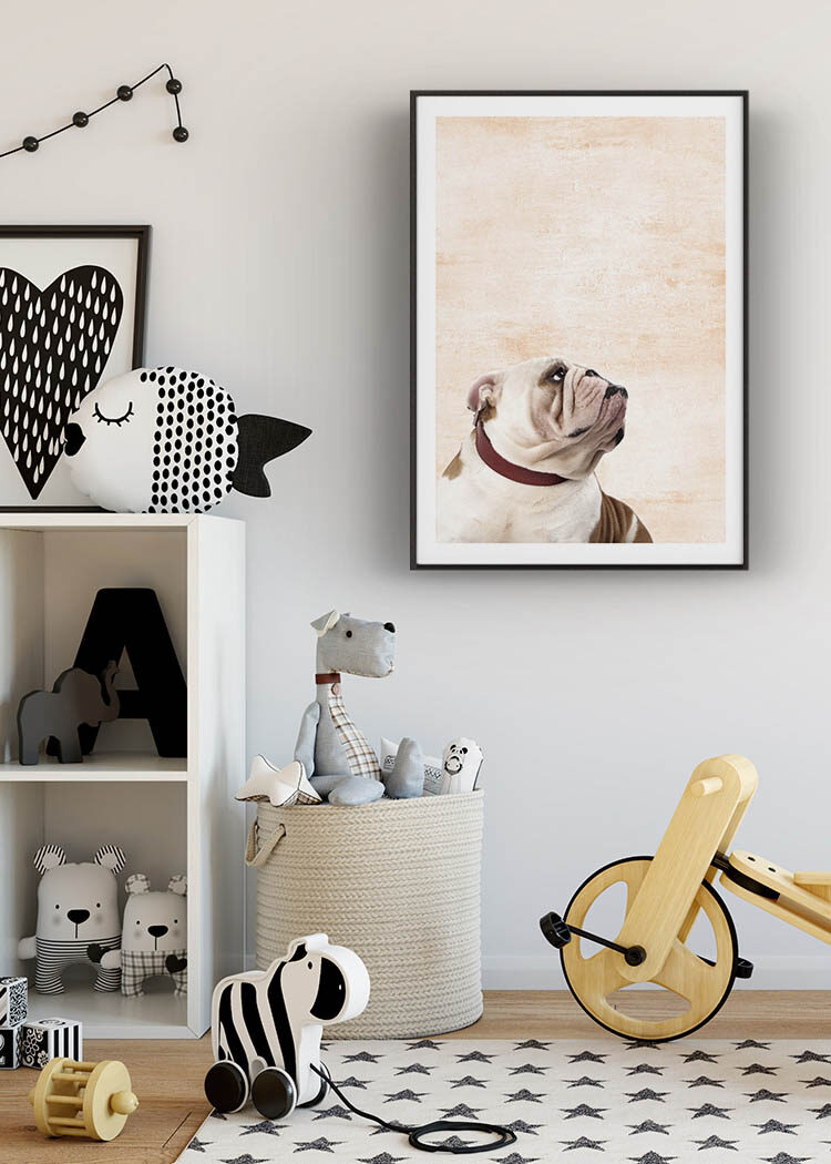 Dog poster with bulldog in kid's room with toys in textile and wood