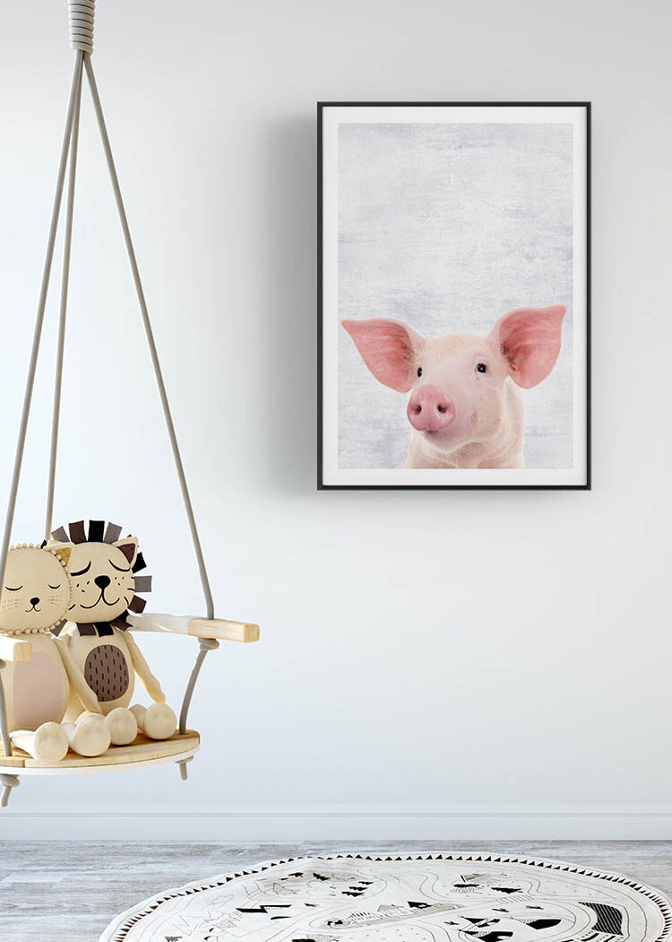 Poster with young pig in child's room with swing and graphical mat