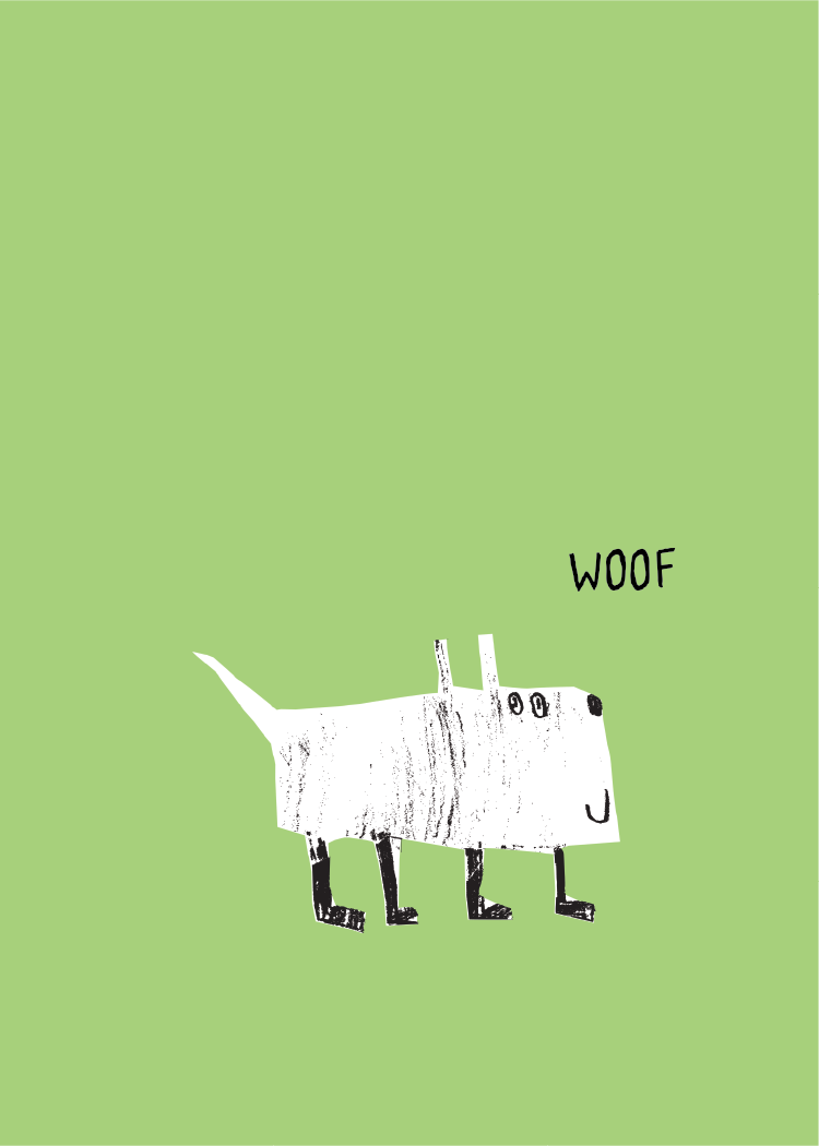 Child's drawing of a dog on green background with the text Woof in black