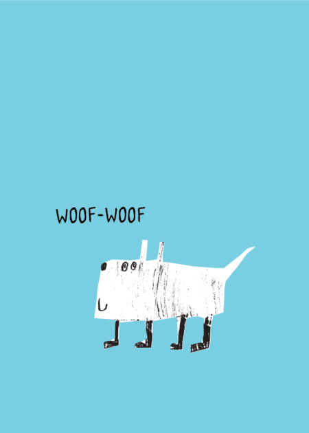Blue poster with white and black illustrated dog and the text Woof-Woof