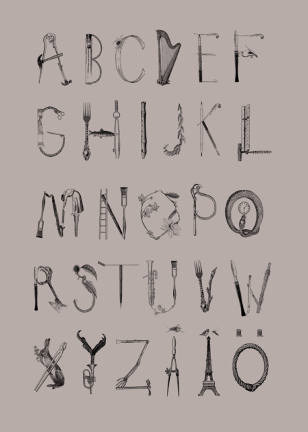 ABC poster with letters made of illustrated rabbit, musical instruments, utensils and other found objects