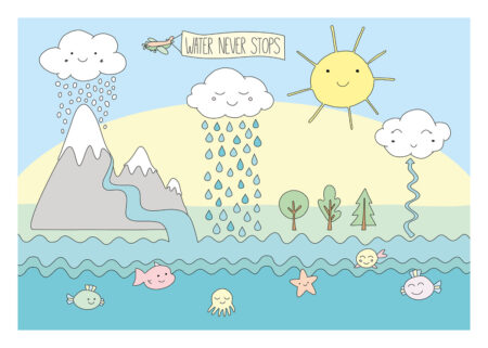 Water never stops, Water cycle poster with sun, cloud, rain, snow, evaporation, sea, and a river with fishes