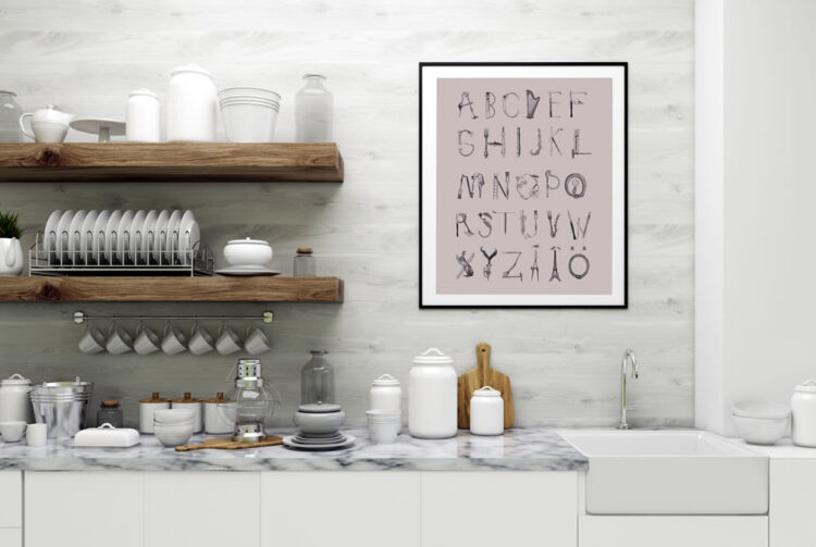 A day out Swedish abc poster in kitchen with marbel plate and wood shelves