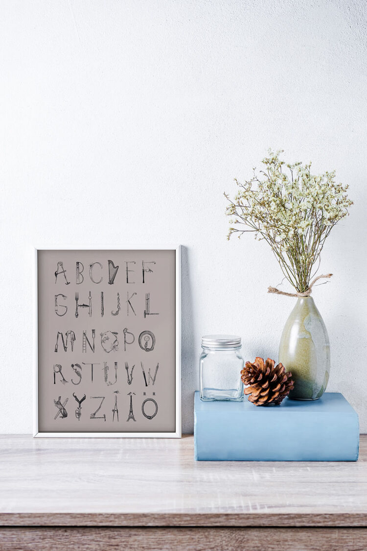 A day out Swedish abc poster with ceramics vase and blue book
