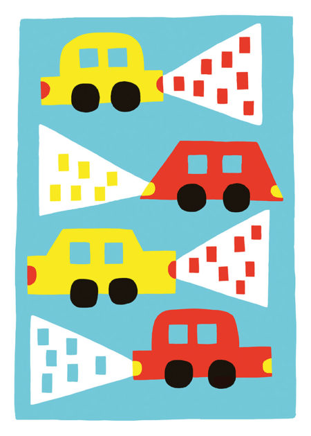 Yellow and red car illustrations with lights on turquoise background