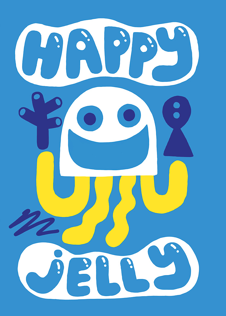 Illustrated happy jellyfish in yellow and white on blue background with fish and coral