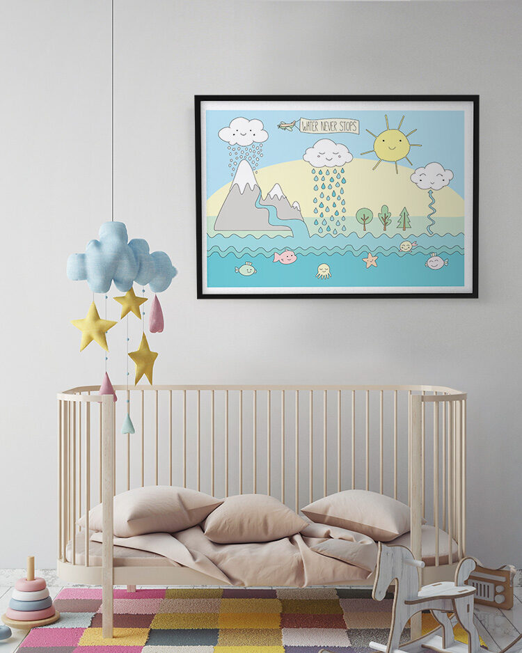 Water Never Stops poster in kids room with cloud pendant and wooded rocking horse