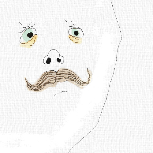 Part of poster with ballon with face with moustach and nose and eyes