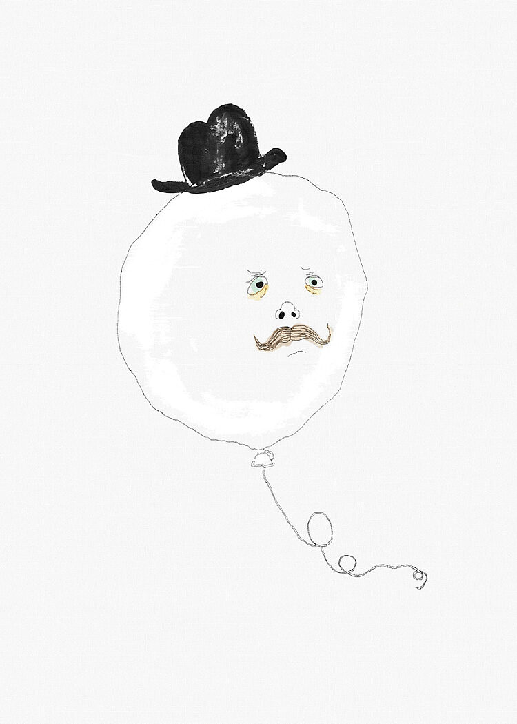 Flying ballon with black hat and face with moustach on canvas background