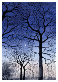 Black trees against night sky with moon next to lake painted in water colour