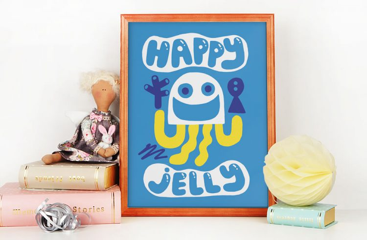 Blue Happy Jelly poster with angel doll and books