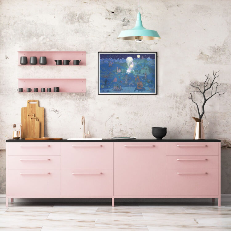 Night in fairy tale land poster in pink kitchen with grey ceramics and turquoise lamp