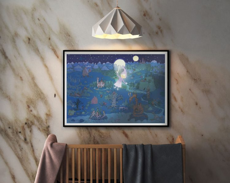 Night in fairy tale land child painting on stone wall above tree crib