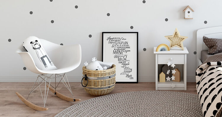 Word poster with zebra, måne, flygplan and other Swedish words in a child's bedroom