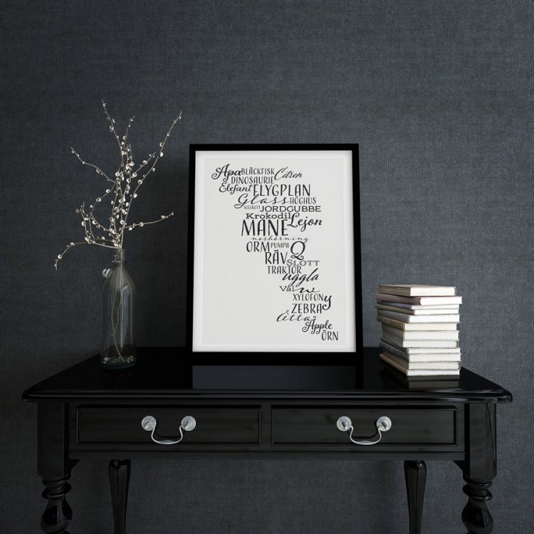 Word poster on black side table with branches in front of anthrasit coloured wallpaper