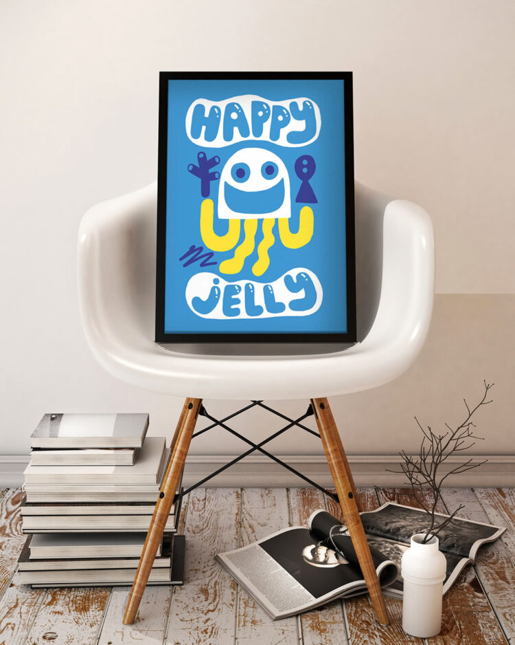 Poster Happy Jelly in Eames Eiffel Bucket armchair