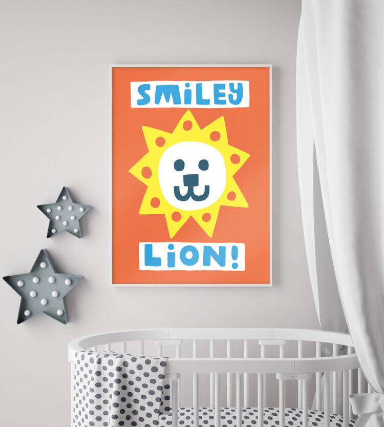 Smiley lion poster above white crib, star lamps and textile canopy