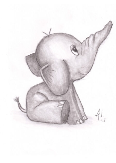 Pencil drawing of sitting baby elephant with big eyes