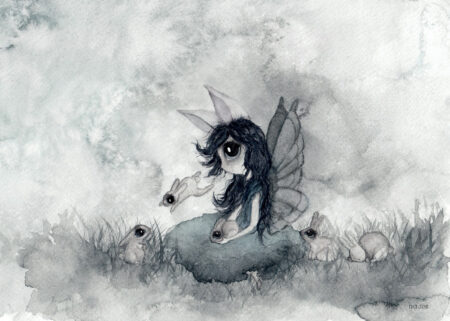 Aquarelle painting in gray and teal with rabbits and big-eyed girl with wings and rabbit ears