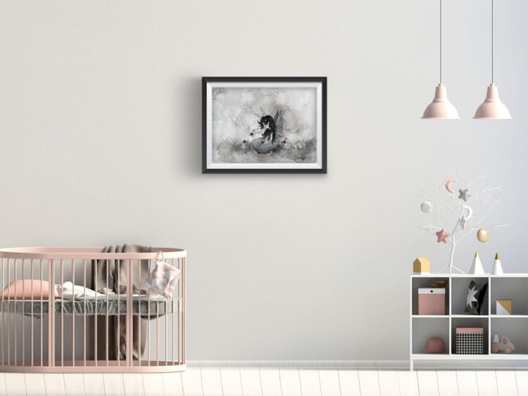 Rabbit girl poster in child's room with salmon coloured lamps and pink crib and white bookshelf