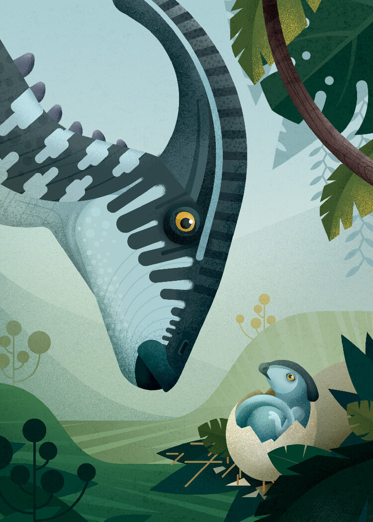 Illustration poster of Parasaurolophus dinosaur in light blue with newly hatched baby in Late Cretaceous Period forest landscape