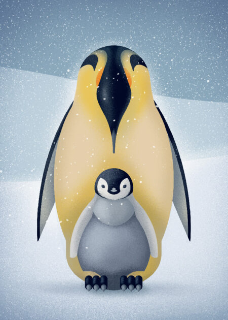 Pointillism inspired illustration of Emperor penguin protecting its chick from the cold snowy weather on Antarctica