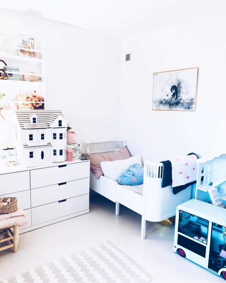 Rabbit girl poster in child bedroom with playhouse and bed by @nellieandnikki