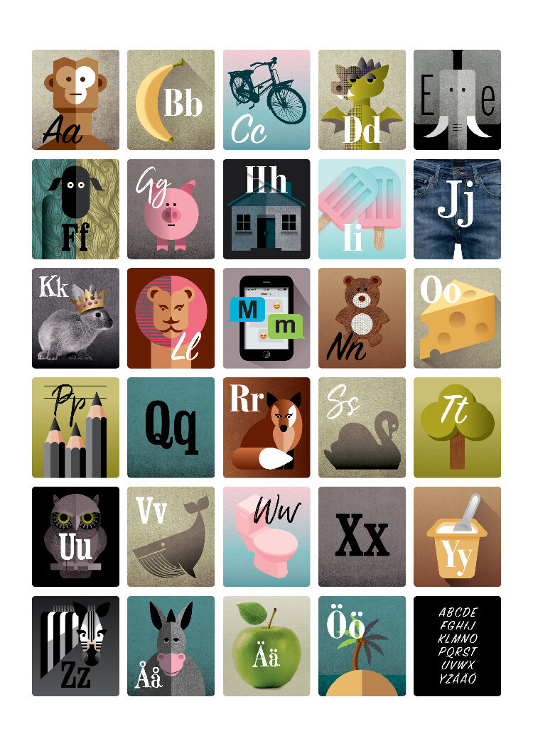 ABC poster with each Swedish letter letter represented with an illustration of an animal, household object or object from the natural world
