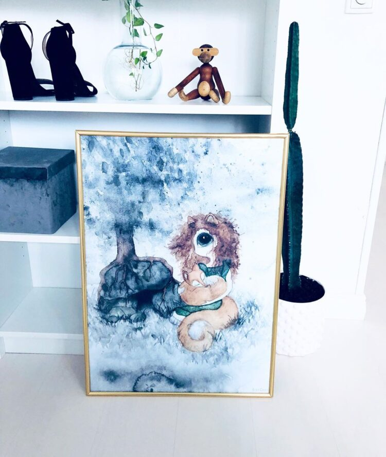 Fix girl poster in golden frame leaning against shelf with monkey toy by @nellieandnikki