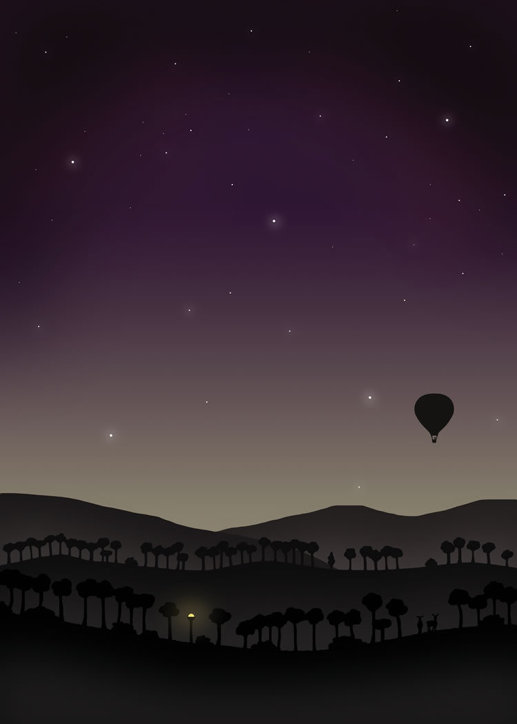 Balloon against night sky in dusk or dawn