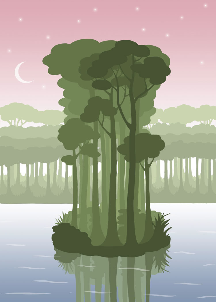 Illustration with small island with green trees