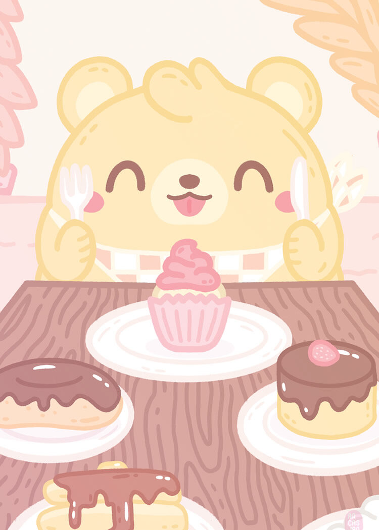 Kawaii style poster with bear in front of table with eclaires, puddings, donuts