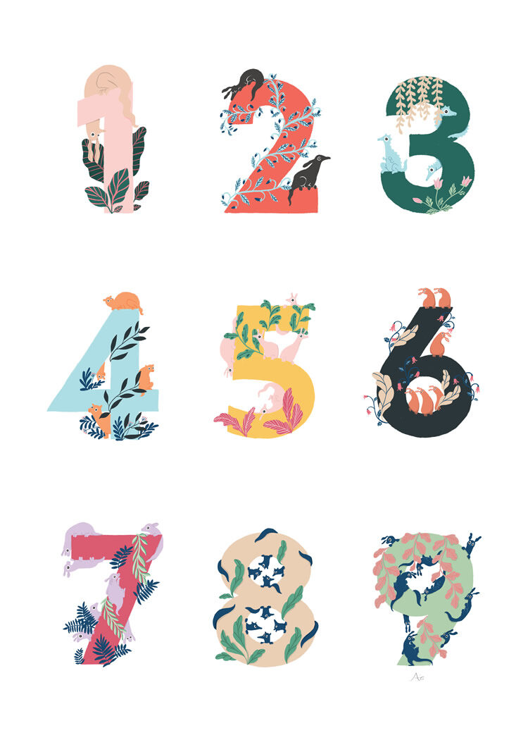 Count The Animals Number Poster by Annie Hjälmefjord