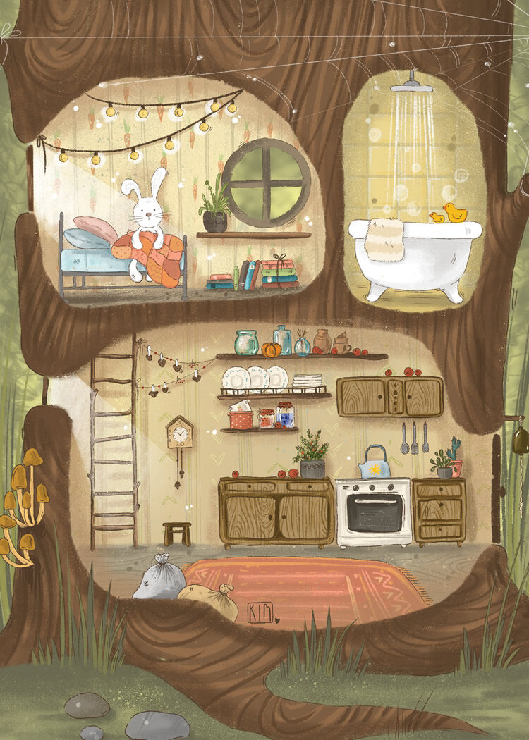 Drawing of a hollow tree where a rabbit lives. On the ground floor the kitchen with stove, upstairs a bathroom with a bathtub and a bedroom with a plaid and light string. The rabbit sit in the bed.
