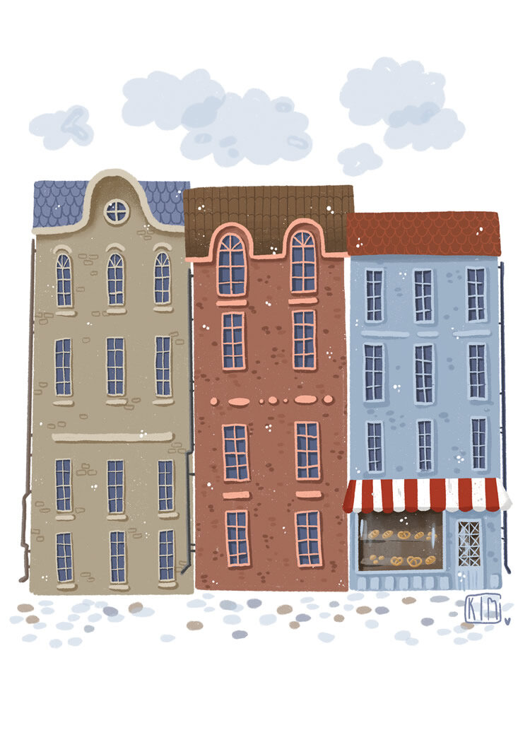 Illustration of three houses on a cobble stone street. The first hosue is beige with blue roof, the second is red and brown, the third is blue with a red roof. In the third house there is a bakery on the ground floor.
