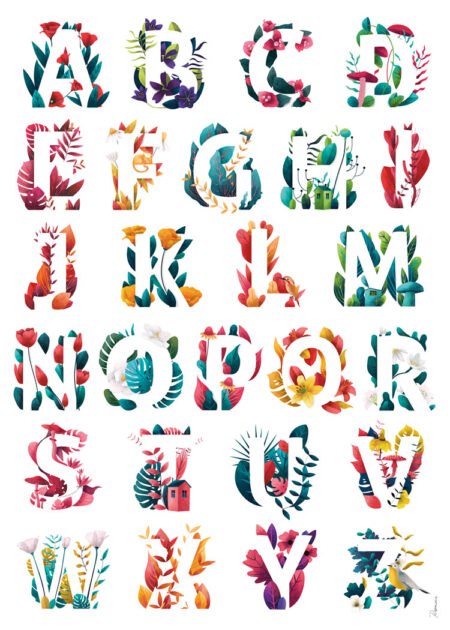 A forest of letters A to Z poster by Rosemarie CC