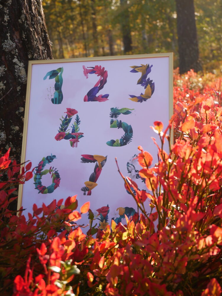 Flowering Math leaning against tree among blueberry bushes in fall forest by @mariagarciacarrasco
