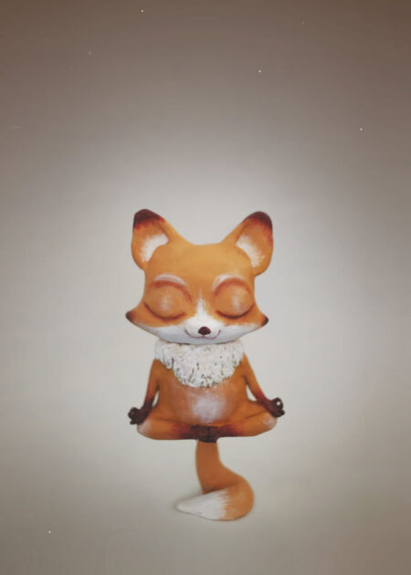 Clay figure fox in lotus position resting on it's tail by Elisabeth Karin