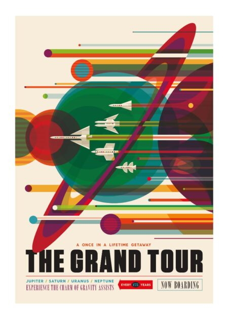 NASA The Grand Tour - solar system travel poster with Jupiter, Saturn, Uranus and Neptune