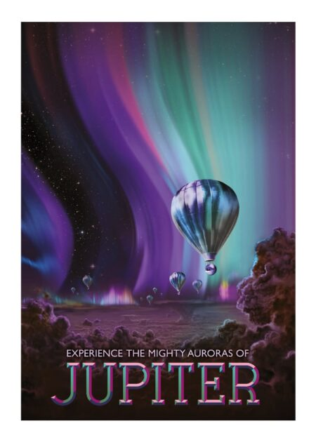 Jupiter space tourism poster from NASA with aurora in purple and green