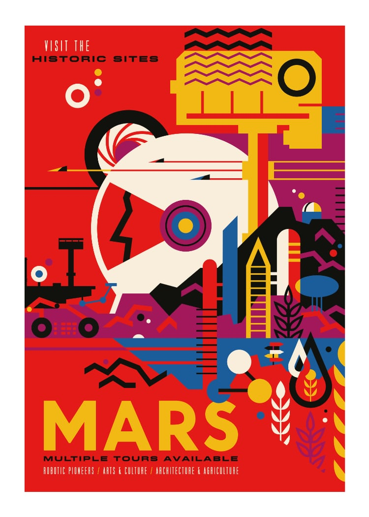 NASA Mars space travel poster in red